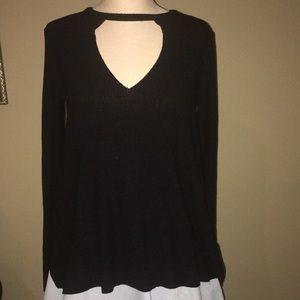 Black sweater with keyhole neck